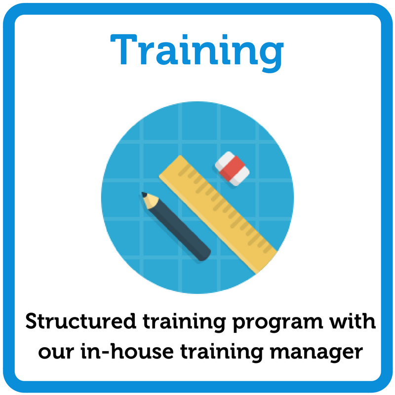 Structured training with our in-house training manager
