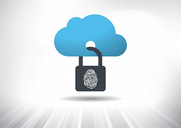 virtual cloud with padlock through it signifying cloud safety